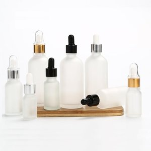 Frost Glass Dropper Bottle Silver Gold Black Lid Empty Cosmetic Packaging Container Vials Essential Oil Bottles 5ML-30ML 25pcs