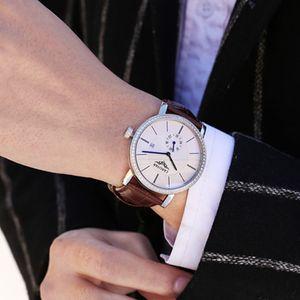 Automático relógio mecânico de couro impermeável personalidade simples tendência de lazer cinto de negócios esportes homens