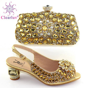 Delle signore di modo africano corrispondenza di calzature e borse Pu scarpe italiane e borse set per partito delle donne Shoe Bag da abbinare con Crystaj