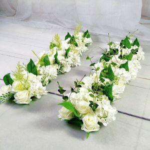 Luxury Wedding Road Cited Flowers Silk Rose Peony Hydrangea DIY Arched Door Flower Row Window T Station Wedding Decoration 50cm C0930