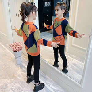 winter new girl's fashion thickened Children's foreign color contrast elastic loose Pullover sweater 33GBKK9D
