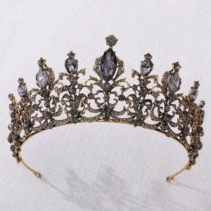 2020 New Vintage Wedding Crown Bridal Headpiece Baroque Black Crystal Tiaras Crowns Bride Party Wedding Hair Accessories