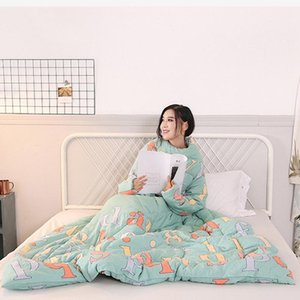 winter Lazy Quilt with Sleeves Multifunction Lovers Winter Warm Long Sleeve O-Neck Suit Print Thicken Blanket Dormitory Mantle1
