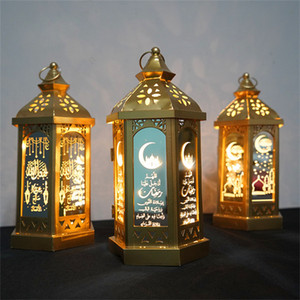 Ramadan Lamp Eid Mubarak Ramadan Party LED Colgando Linternas 14 * 28 cm luces cálidas Islam Muslim Event Party Decoraciones