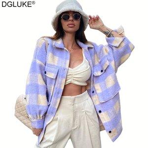 DGLUKE 2020 Hiver surdimensionné Plaid manteau de veste de femmes manches longues boutonné Woollen surchemises Vestes Mode Casual vêtement