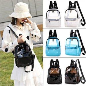 Women Fashion Mini Backpack Solid Clear Transparent PVC See Through Female Casual Cute School Book Bag