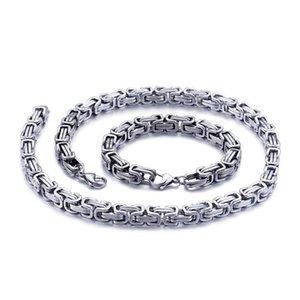 5 6 8mm Silver Color Charm Bike Jewelry 316L Stainless Steel Gold Black Byzantine Box Chain Mens Women Necklace Bracelet 20-60cm