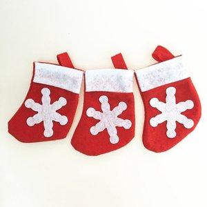 Mini Christmas Stocking Snowflake Cutlery Bag Xmas Home Decoration Christmas Socks Knife Fork Tableware Holder Christmas Gift Bag
