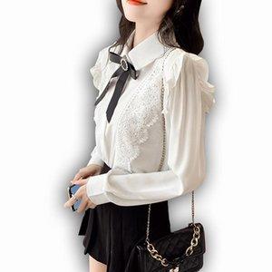 Foxmertor Chiffon Crava Donne Camicetta Autunno Manica lunga Solido Bianco Purflo Purflo Turndown Collare Camicie Femminile Soft Casual Ladies Tops