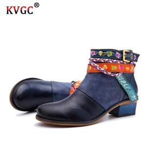 KVGC 2020 Nouveau cuir de vachette véritable bottes filles mode de haute qualité Vintage Bottines élégant Tout-match Chaussures Femmes Zipper