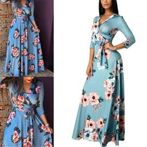 Casual Long Dress Clothes Women Floral Deep V-neck Dress Fashion Autumn New 3 4 Sleeve Loose Dresses Designer Summer Female