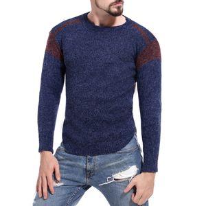 Mens Contrast Color Pullover Frühling Herbst Täfelte Langarm Crew Hals Pullover Männliche Slim Fit Kleidung