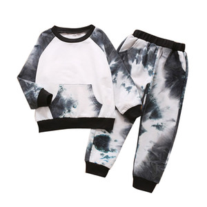 Boys Tie Dye Outfits Kids Pocket Hoodies Long Sleeve Hooded Tops Baby Girls Colorful Clothes Kids Hooeded Sweater Toddler Clothes 06210115