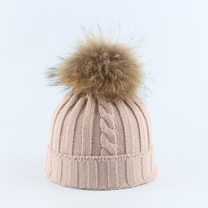 New Winter Beanies Fur Ball Wool Hat Adult Child Knitted Single Warm Hat Brimless Bobble Hat