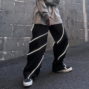 Reflective pants Korean ins net red high street hip hop sports casual pants fashion brand loose and handsome personalized