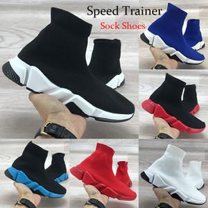 Marca Speed Trainer Alta Mens Sapatilhas Das Mulheres Sapatos Casuais Preto Vermelho Branco Royal Top Quality Moda Meias Botas Sapatos de Grife 36-45