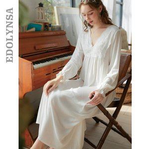 Women Lace Sleepwear Bride Long Nightgowns Female Sweet Princess Sleeping Home Dress Lady Lace Sexy Nightdress Sleepwear T628