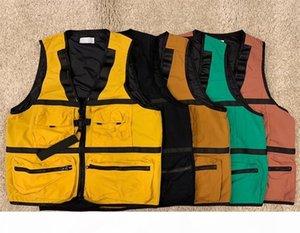 #8825 Autumn Jacket Multifunctional Waistcoat Tooling Pocket Vest Zipper All-match Waistcoats 5 Colors M-2XL