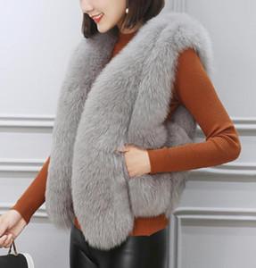 Faux Feminino Faux S-3XL Casacos de tamanho grande 2021 imitação colete de grama senhoras outono e inverno curto fino casaco magro pelúcia selvagem