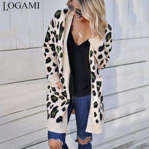 LOGAMI Lange Leopard Strickjacke Frauen Langarm-Herbst-Winter-Pullover Fashion 2020 Frauen Mantel
