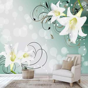 Stereo costume Mural Wallpaper 3D bonito Lily Recados Pintura Sala Quarto Waterproof Canvas Romantic Home Decor
