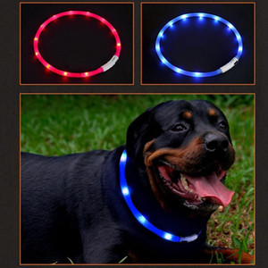 LED Pet Collar USB Rechargeable Night Safety Warning Illuminated Dog Adjustable Silicone Collar Cut to Resize