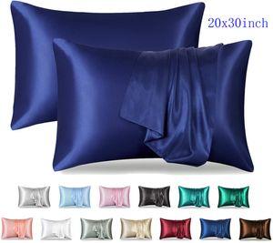 Solid Color Silk Satin Pillowcase Standard Queen Size 20x30 Pillow Cases No Zipper