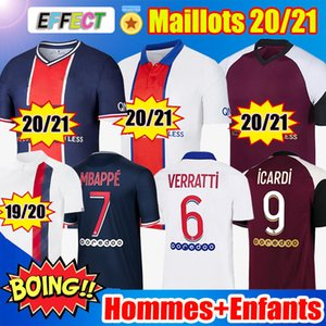 Maillots de Foot 20/21 MBAPPE KITS JR Paris ICARDI CAVANI VERRATTI MARQUINHOS Survetement Maillot de Foot 2020 2021 KIMPEMBE Ensembles Enfants Soccer Jerseys