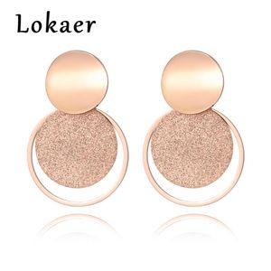 Gioielli Lokaer acciaio inossidabile oro rosa colori Frosted foglio disco cerchio curvo orecchini E18446