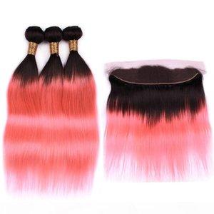 Malaisie Ombre Rose droite cheveux humains Weave Bundles 3Pcs avec Frontal # 1B Ombre Rose Gold Weaves droite avec 13x4 dentelle Frontal fermeture