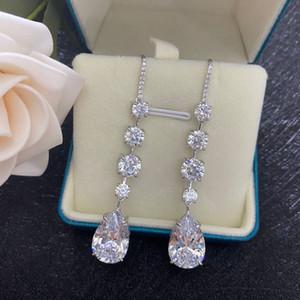 Kadınlar Gelin Nişan Bijou elmas Dangle Küpe Takı Parti Düğün Bırak Küpe 3ct Orijinal 925 gümüş