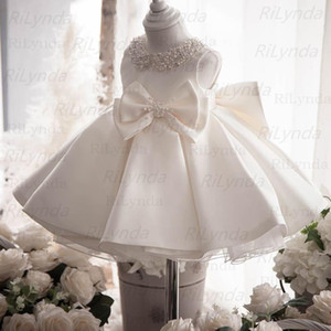 Kids Satin First Communion Dresses Glitz Ball Gown Pageant Dress Flower Girl dresses for Weddings banquet Back Dres