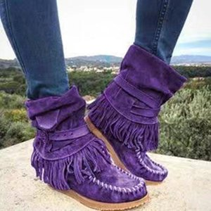 Cowboy Boots For Women Classic Tassel Western Suede Leather Cowgirl Ankle Boots Low Heels Shoes Woman Winter Warm Botas