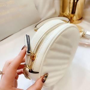 2020 Women Crossbody Bags Shoulder Bag Small Round Bag Designer Female Handbag For Women PU Leather Retro Chain White