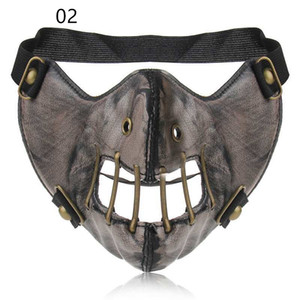 Personality Trendy Leather COS Half Face Mask Motorcycle Riding Mask Paintball Mask Party Performance Props K488G