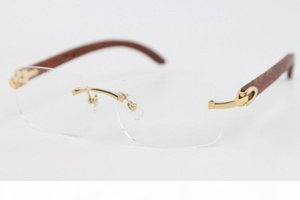 2020 New Style Wood Eyeglasses Unisex For Woman 8200757 silver gold metal frame Rimless C Decoration gold frame glasses Size : 56-18-140mm