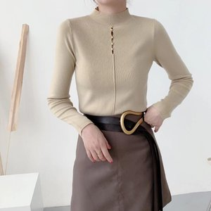 2020 autumn new Korean version of the thin pullover long-sleeved fashion thin sweater women's high-neck hollow knit sweater
