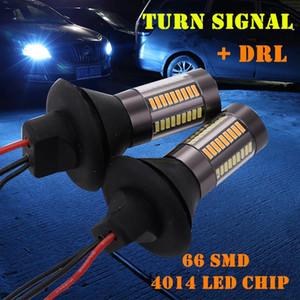 2Pcs Car LED Dual Color 1156 BA15S P21W BAU15S PY21W T20 T25 4014-66SMD Turn Signal DRL Daytime Running Light Canbus Error Free