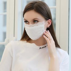 Mode Gesichtsmaske Perle Spitze Maske Erwachsene Einstellbare staubdichte Atmungsaktive dünne Milch Seidenmaske 4 Farben HWA1993