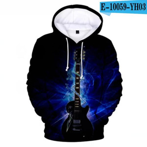 New Print Music Guitar 3d Hoodies Pullover Costume Men Women Hoodie Long Sleeve Kpop Harajuku Hooded Flame Boys girls Clothes