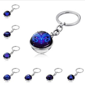 2021 New product accessories twelve constellations time gem keychain double-sided glass ball keychain