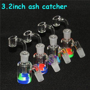 wholesale glass ash catcher glass ash catcher 14mm 18mm Male Female joint bubbler ashcatcher water bong 7ml Silicone Container