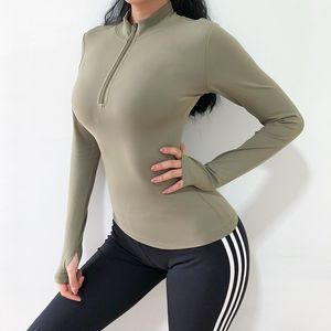 Women Sport Top Zipper Sexy Solid High Elastic Gym Yoga Shirt Crop Top Running Breathable Long Sleeve T-Shirts