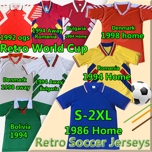 Équipe nationale Vintage Classic Retro Soccer Jerseys Danemark 1992 98 Bolivie Roumanie Accueil 1994 Bulgarie ITA 1986 LY Football Shirts