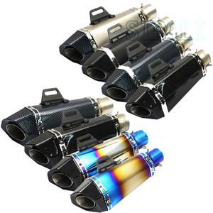 51mm motocicleta universal Silenciador Tubo de escape de fibra de carbono de escape para MSX 125 CB1000R BENELLI 300 600 RSV4 CB400 r6 r1 TRK502