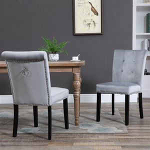 Kadife Kumaş Kauçuk Ahşap Bacaklar Yastık Ham Pamuk Yoğunluğu 26 Bahar Manikür Soyunma Taburesi Sandalyeler İki Setleri Gümüş Gri