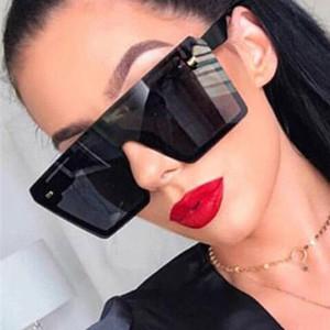 2020 Vintage Square Rimless Sunglasses Women Fashion Flat Top Integrated Gradient Rivet Oversize Sun Glasses For Female UV400