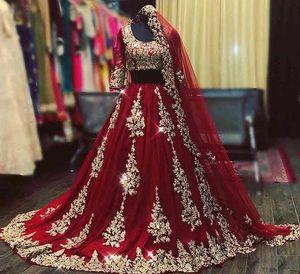 2021 Borgoña Oro Árabe Africano Vestidos de novia con velo 2 piezas Applique Floral Cuentas de cristal Scoop Mangas largas Vestido nupcial Formal