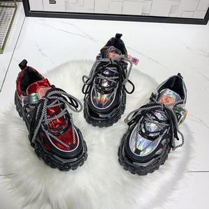 Net rosso nero scarpe papà da donna 2020 nuovo autunno e inverno versatile focaccina spessa suola super-scarpe sportive fuoco per il tempo libero