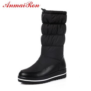 AnmaiRon Femmes New Mode Bottes Hiver chaud ronde Toe Bottes Femme 2020 femmes chaussures